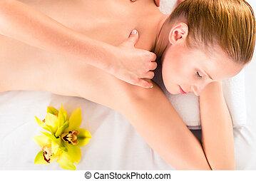 wellness, donna, detenere, massaggio, terme