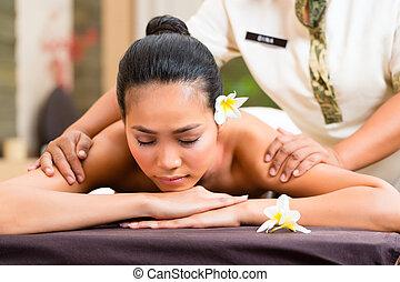 wellness, indonesiano, donna, massaggio, terme
