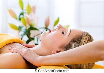 wellness, -, prendendo massaggio, terme, donna, testa