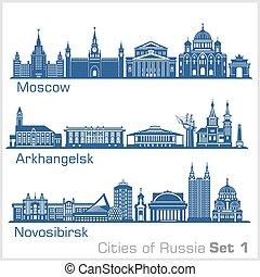 white., orizzonte, russia., arkhangelsk, città, mosca, novosibirsk, set., silhouette, vettore