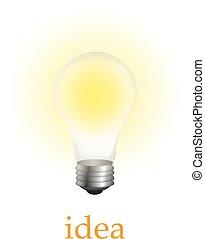 white., vettore, luminoso, isolato, bulbo, realistico, luce, illustrazione