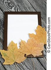 white., vuoto, frame., foto, nero, acero, pino, foglie, margine, dipinto, image., spazzolato, assi, secco