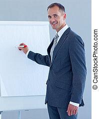 whiteboard, maturo, scrittura, uomo affari