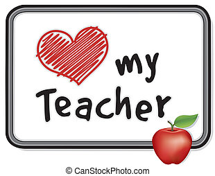 whiteboard, mio, insegnante, amore, mela