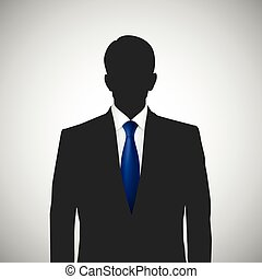 whith, silhouette, persona, cravatta blu, sconosciuto