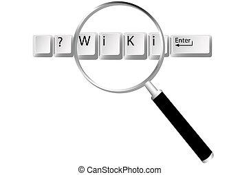 wiki, informazioni, chiavi, lente ingrandimento, trovare