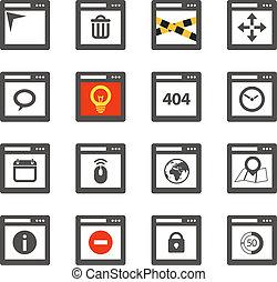 windows, browser web, collezione, icone