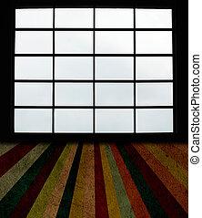 windows, grande, grunge, pavimento asse