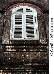 windows, vendemmia, mattone, vecchio, parete