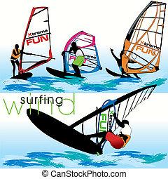 windsurf, set, silhouette