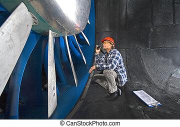 windtunnel, ispezionando