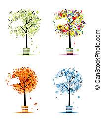 winter., arte, primavera, -, otri, albero, quattro, disegno, autunno, stagioni, tuo, estate