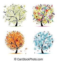winter., bello, arte, primavera, autunno, -, albero, quattro, disegno, stagioni, tuo, estate