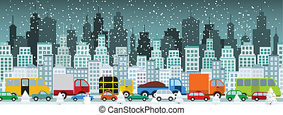(winter), città, marmellata, traffico