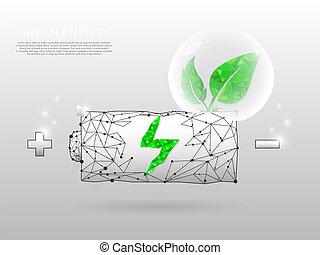 wireframe, foglia, forma, punto, batteria, linee, illustrazione, eco, esso, poly, addebitare, polygonal, fondo., vettore, verde, basso, bianco, grows, triangoli, icona