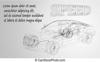 wireframe, forma, automobili, concept., shapes., consistere, linee, vettore, sfondo nero, automobile, disegno, bianco, sport, immagine, astratto