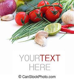 (with, verdura, text), campione, sfondo verde, fresco, bianco
