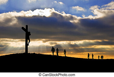 witth, camminare, buono, silhouette, cristo, persone, venerdì, su, croce, verso, collina, crocifissione, gesù, pasqua