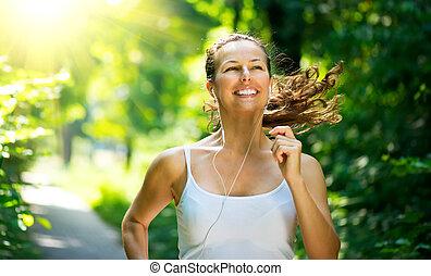 woman., allenamento, parco, esterno, correndo