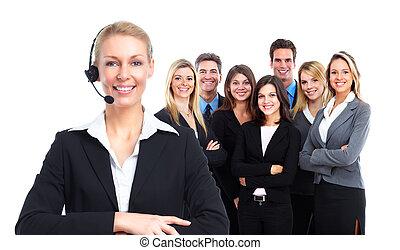 woman., centro chiamata, segretario
