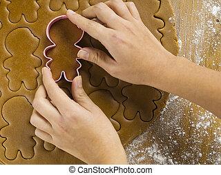 womans, raccolto, mano, biscotto, usando, vista, tagliatore