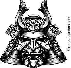 woodcut, samurai, maschera, stile