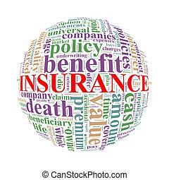 wordcloud, palla, parola, assicurazione, etichette