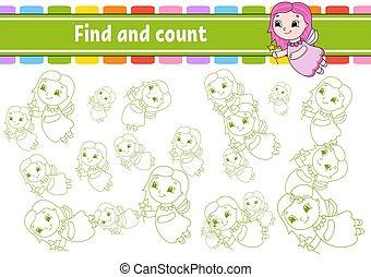 worksheet., sviluppo, children., fairy., count., isolato, vettore, cartone animato, attività, giovane, trovare, gioco, illustration., logico, educazione, page., pensare, puzzle, character., training.