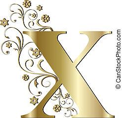 x, lettera, oro, capitale