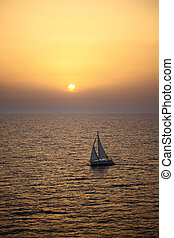 yacht, tramonto, navigazione