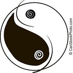 yang, bianco, fondo., vettore, yin, illustrazione