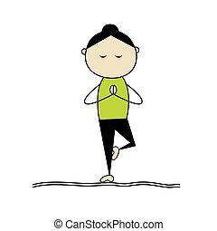 yoga, donna, atteggiarsi, attivo, albero