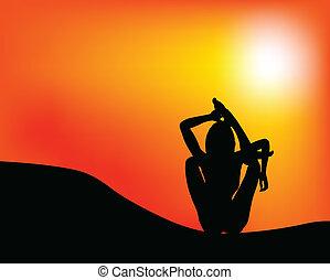 yoga, illustrazione, natura