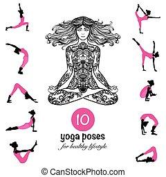 yoga, manifesto, pictograms, asanas, pose, composizione