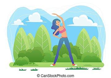 yoga, natura, donna, vrikshasana, posizione, meditazione