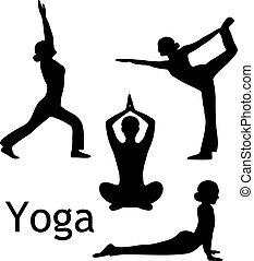 yoga, pose, vettore, silhouette