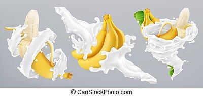 yogurt., banana, realistico, vettore, schizzo, 3d, latte, icona