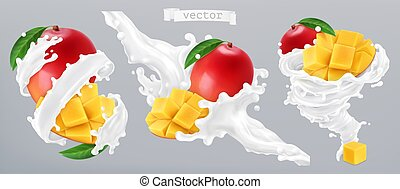 yogurt., mango, realistico, vettore, schizzo, 3d, latte, icona