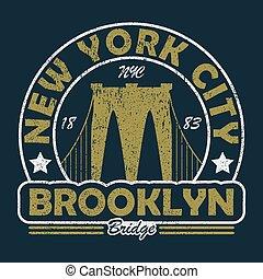 york, brooklyn, grunge, nuovo, ponte, print.