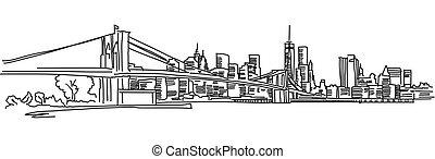 york, panorama, nuovo, ponte brooklyn
