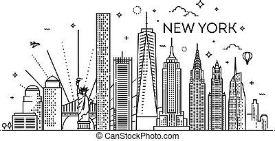 york, vettore, nuovo, disegno, illustrazione, città, appartamento, orizzonte