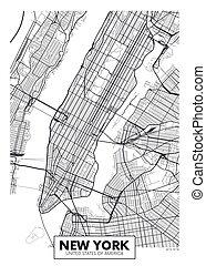york, vettore, nuovo, mappa urbana, manifesto