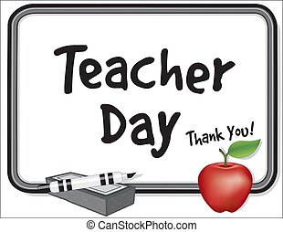 you!, insegnante, giorno, ringraziare, mela, whiteboard