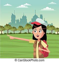 zaino, donna, turista