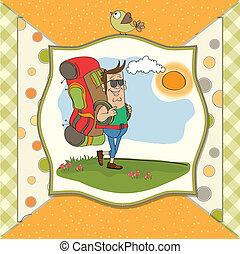 zaino, uomo, viaggiare, turista
