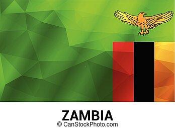 zambia, vettore, disegno, giorno indipendenza, scheda