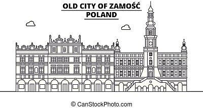 zamosc, -, vector., famoso, panorama, punto di riferimento, polonia, viaggiare, lineare, illustrazione, orizzonte