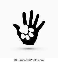 zampa, moderno, mano, vettore, nero, bianco, presa, icona