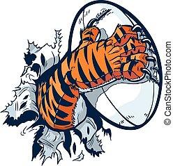 zampa, rugby, tiger, palla, afferrare