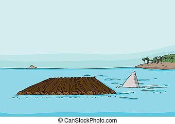 zattera, pinna squalo